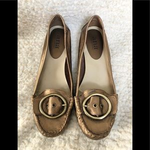 a.n.a. Gold Leather upper flats with buckle size 7